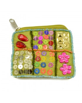 Embellished Green Small Coin Purse