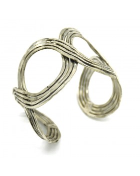 Crossing Silver Oxidised Cuff