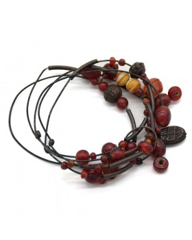Jhilmil Red Multed Glass Black Oxidised Wire Bracelet