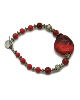Coral Stone Silver Oxidised Bracelet