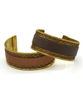 Two Tone Leather Cuff-Set of 2