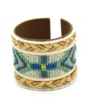Multi White Base Seed Bead Chatai Bunai Leather Cuff