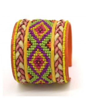 Multi Seed Chatai Bunai Leather Cuff