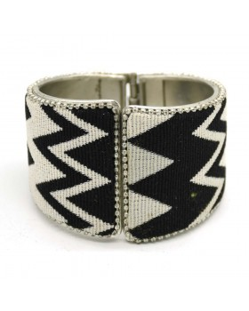 Handloom Printed Black White Shaded Fabric Silver Cuff