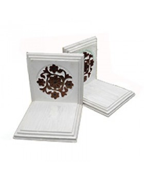 Flower Motifs Wooden Bookends