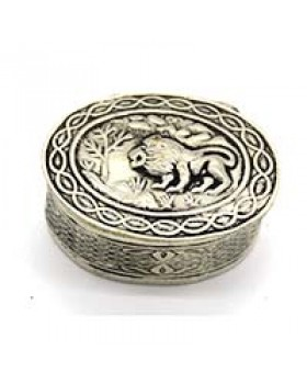 Forest Lion Silver Oxidised Small Gift Box