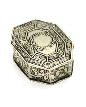 Flower Motifs Silver Small Box