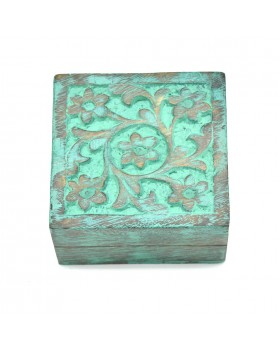 Floral Square Green  Wood Box