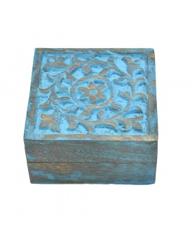 Floral Square Sky blue Wood Box
