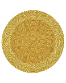 Golden Beaded Charger-Placemats - Set of 2