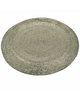 Grey Beaded Charger-Placemats - Set of 2