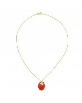 Oval Pendant Gold Plated Necklace