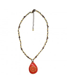 Floral Red Pendent Necklace