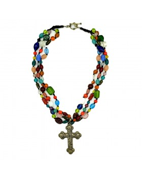 Christian Multi Glass Beads Necklace