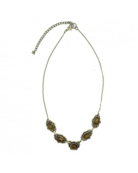 Tiger Stone Long Chain Necklace