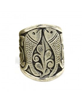 Double Fish Medium Silver Oxidised Finger Ring