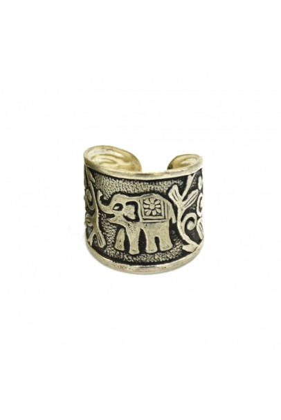 Elephant Small Silver Oxidised Finger Ring