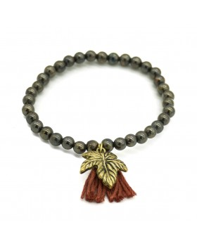 Leave Charm Brown Tassel Bracelet