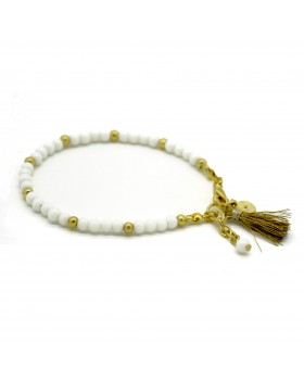 White Beaded and Golden Tassel Bracelet