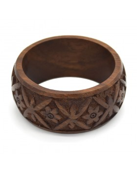 Carving Flowers Wood Bangle