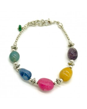 Multi Colored Stones Brass Bracelet