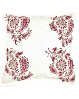 Block Printed Fuschia Garden Pillow Cover