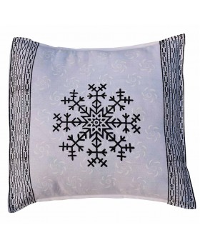 PinStripe Border with Flower Block Print Pillow Cover
