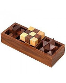 3-in-One Wooden Puzzle Games Set