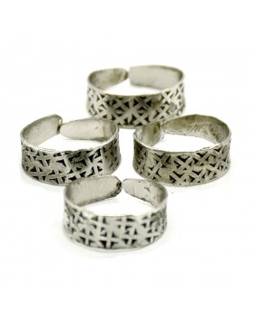 Silver Criss Cross Toe Ring, Set of 4