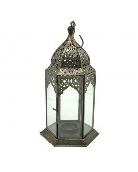 Beauty Oxidised White Transparent Glass Lantern