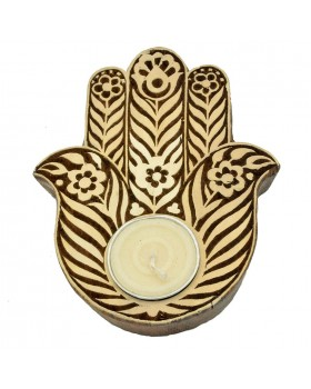 Floral Hamsa Tealight Candle  Holder