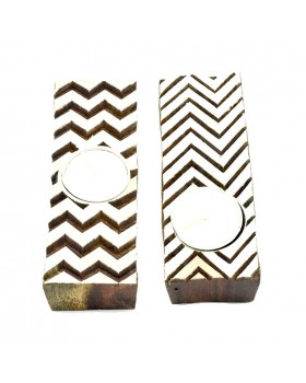 Zigzag Flair Wooden Tealight Candle Holder -Set of 2