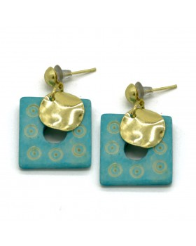 Dotted Rectangular Bone Earrings