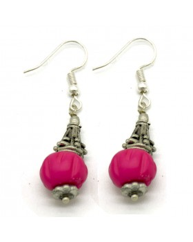 Fuschia Round Bone Earrings