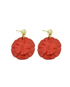 Floral Red Bone Earrings