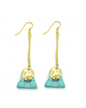 Dotted Bone Triangle Long Earrings
