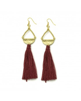 Maroon Tassel Drop Earrings