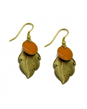Shaped  Leaves Earrings-Gold