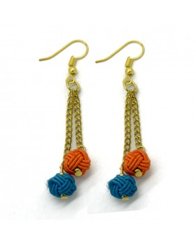Long Turquoise and Orange Ball Earrings