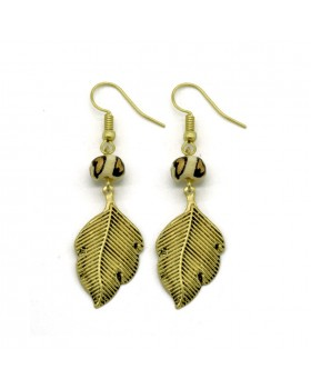 Brass Bone Painted Earrings