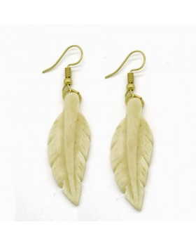 Carving Leaves Bone Earrings