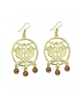 Double Fish with Brown Glass Beads Earrings