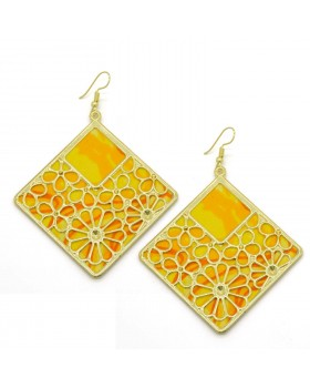 Yellow Block Print Cotton Square Earrings