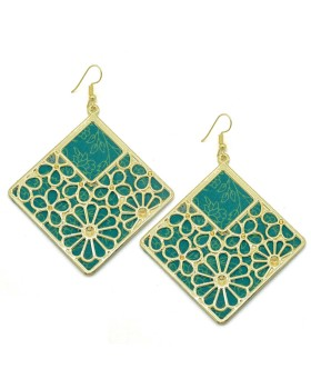 Green Block Print Cotton Square Earrings