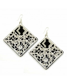 Black White Cotton Square Earrings