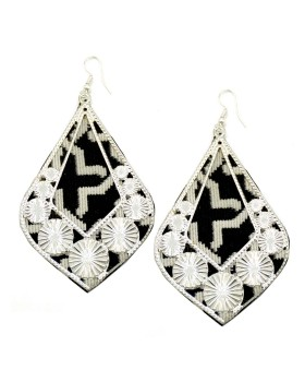 Black White Cotton Drop Earrings