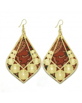 Red Block Print Cotton Drop Earrings