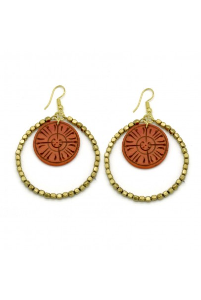 Bone Carving Red Round Earrings