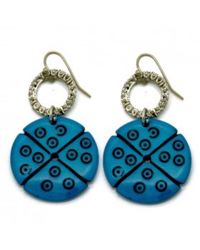 Bone Carving Turquoise Round Earrings
