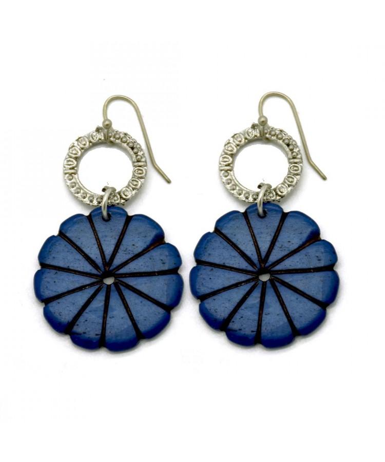 Bone Carving Blue Floral Earrings Global Artisans